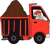 Vector of man driving truck loaded with mud.