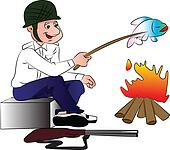 Vector of hunter cooking fish.