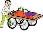 Vector of vendor pushing vegetable cart.