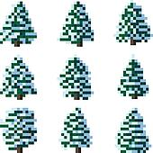 Pixel winter snowy tree.