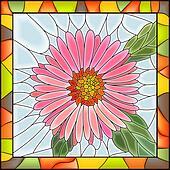 Mosaic flower pink aster.