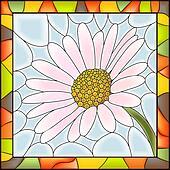Mosaic of flower chamomile .