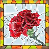 Mosaic of red carnation.