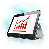 Business concept: Growth Graph on tablet pc computer
