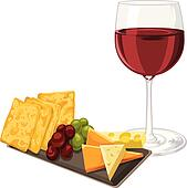 Vector of red wine with cheese, cookie and grapes.