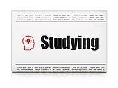 Education news concept: newspaper headline Studying and Head With Lightbulb icon on White background, 3d render