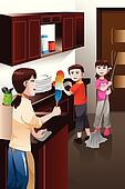 Kids helping their parent cleaning house