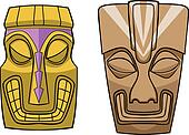 Cartoon Tiki Masks Vector