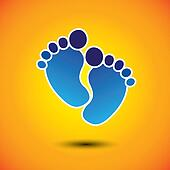 baby's or toddler's foot mark in blue on orange background - vector graphic. This illustration can represent play school, nursery or pre-school of kids & toddlers or baby care centers, etc