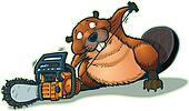 Cute Beaver Strarting Chainsaw