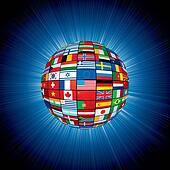 Flags Globe on Abstract Background. Vector