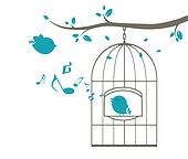 Birds singing on the cage