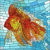 Mosaic illustration of gold fish.