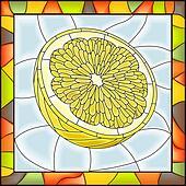 Mosaic fruit yellow lemon.