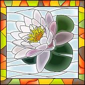 Mosaic white water lily.