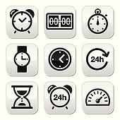 Time, clock vector buttons set
