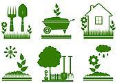 isolated garden landscaping symbols