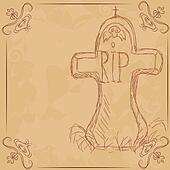 R.I.P.Vector illustration,  headstone, banner for halloween