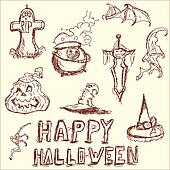 Vector illustration. The elements of Halloween.