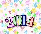 Happy New Year 2014 background with colorful snowflakes
