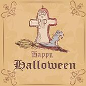 Vector illustration. Gravestone with a witch hat and broom. Halloween