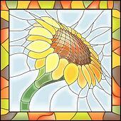 Mosaic of flower sunflower.