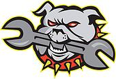 Bulldog Dog Mongrel Head Mascot