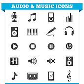 Audio And Music Icons Vector Set