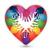 Hands together for Love logo vector