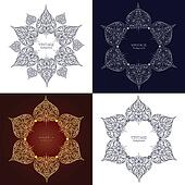 Set of four ornamental round lace, circle ornament