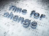 Time concept: Silver Time for Change on digital background