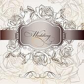 Wedding invitation in elegant style with roses