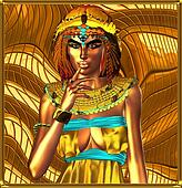Metallic egyptian queen on abstract