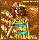 Metallic egyptian queen on abstract
