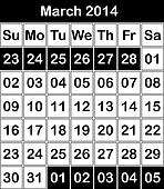 March 2014 Black and White calendar