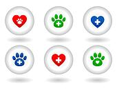 set of veterinary icons on white
