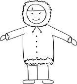 Eskimo Child Doodle Sketch