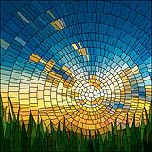 Mosaic of sunset in grass.