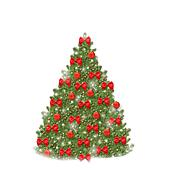 Christmas tree with red balls and beautiful bows isolated on white background