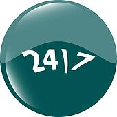 24 hour green button web icon