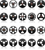 Analog Stereo Tape Reels Icon set