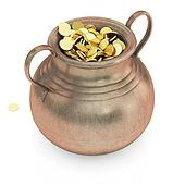 Golden treasure in bronze pot