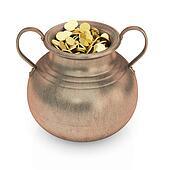 Golden treasure in bronze pot