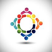 colorful people & children icons in multiple circles- concept vector. This illustration can also represent concept of children playing together or friendship or team building or group activity, etc
