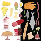 dairy and meat products icon set
