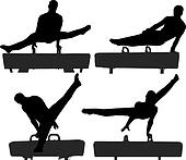 Gymnast on Pommel Horse Silhouette