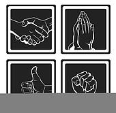 Hand set prayer & handshake