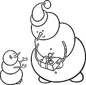 christmas snowmen coloring page