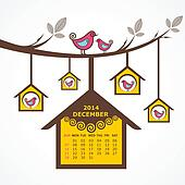 Calendar of December 2014 with bird