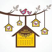 Calendar of February 2014 with bird